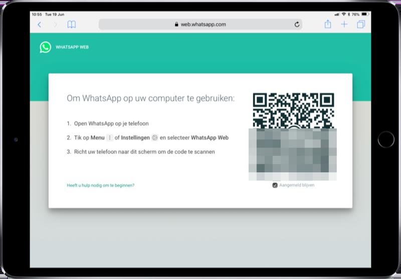 WhatsApp Web op de iPad met code.
