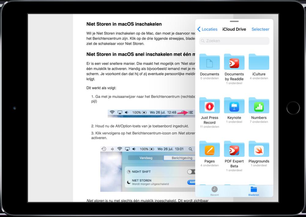 Slide Over op de iPad met Bestanden.