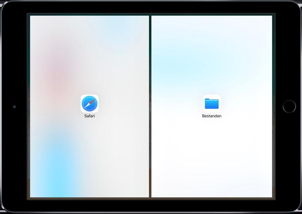 Verdeling voor Split View op de iPad.