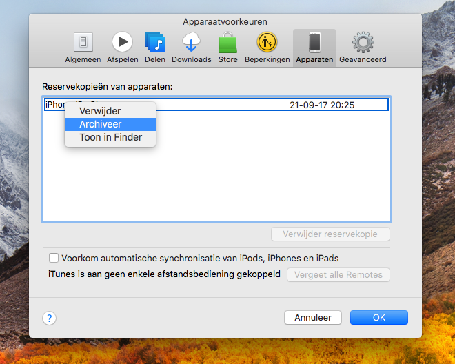 Backup iTunes archiveren