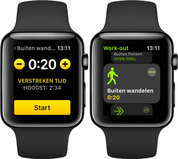 Apple Watch kalibreren via Workout-app.