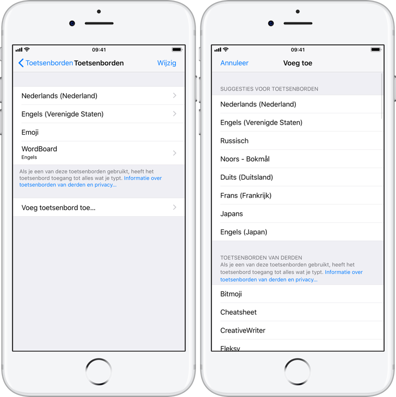 Toetsenborden instellen op iPhone en iPad