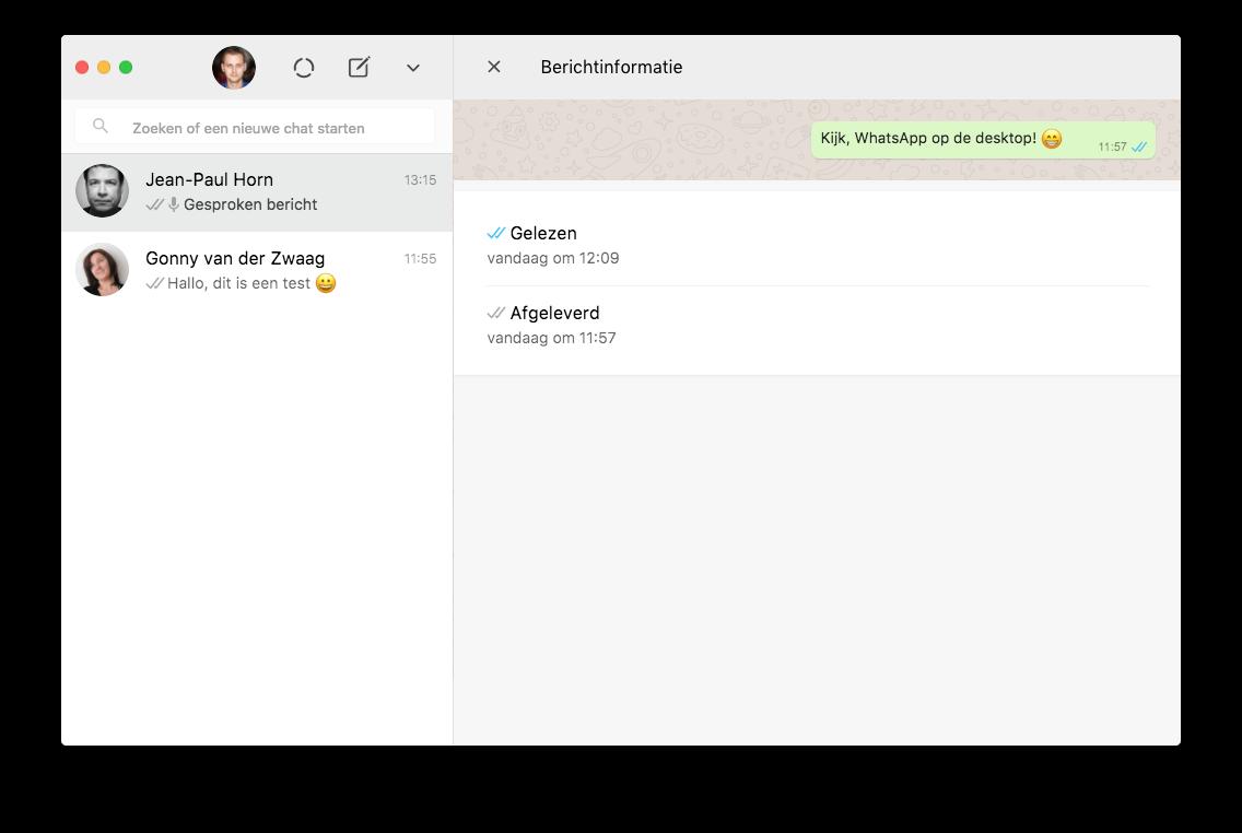 WhatsApp Desktop berichtinfo op Mac.