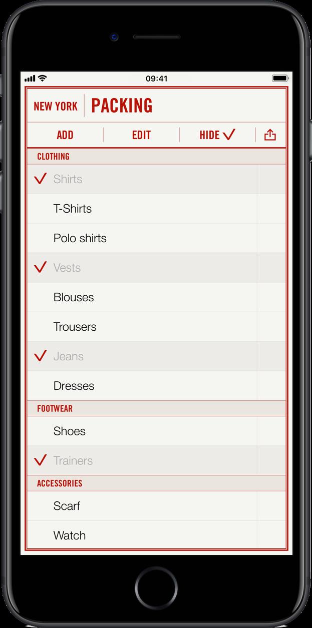 Travel List iPhone-app