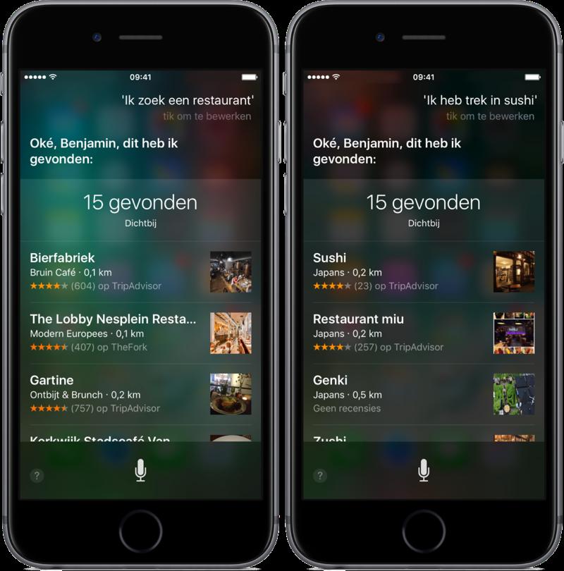 Siri kan zoeken naar restaurants.