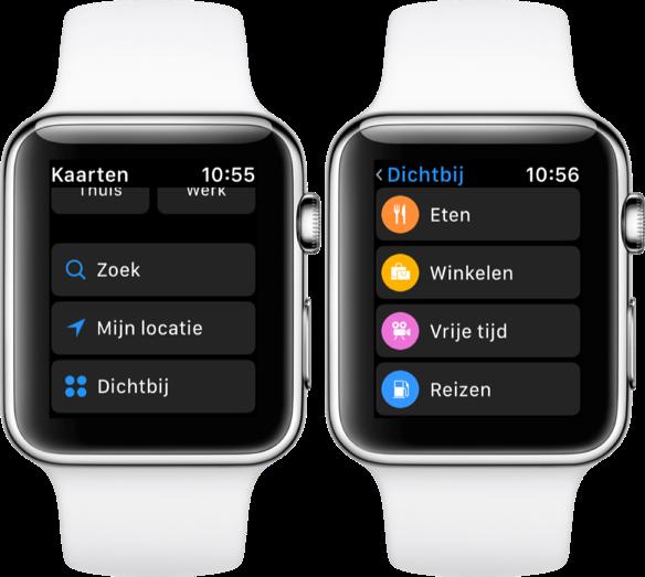 Kaarten met Dichtbij op de Apple Watch.