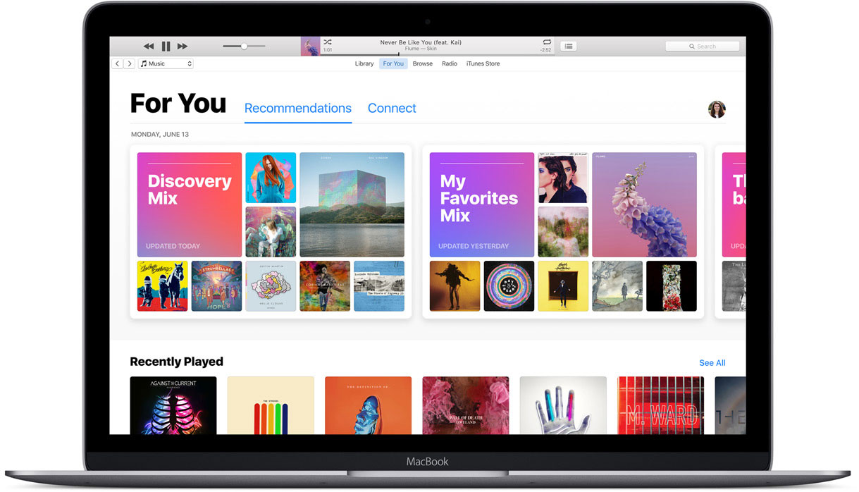 macOS Sierra met Apple Music, For You