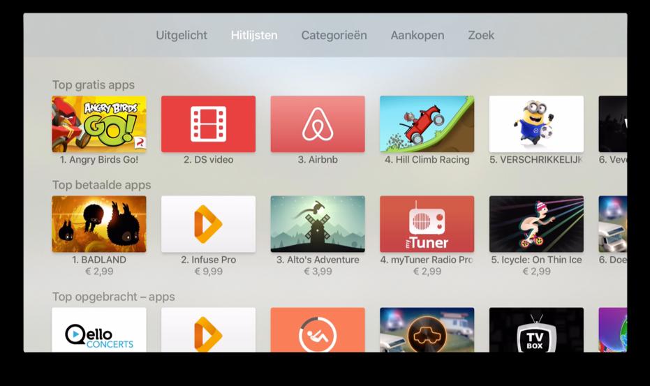 De Apple TV hitlijsten met alle apps.