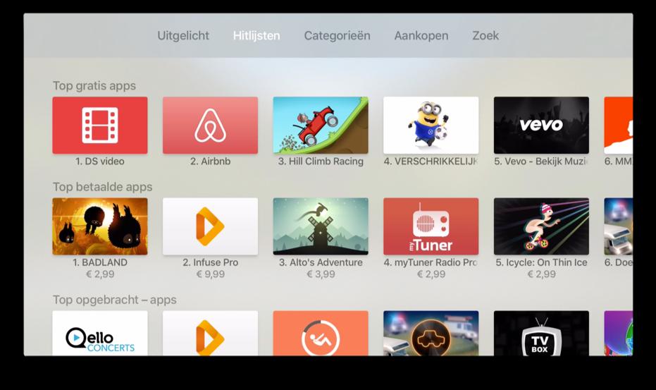 De Apple TV hitlijsten zonder gedownloade app.