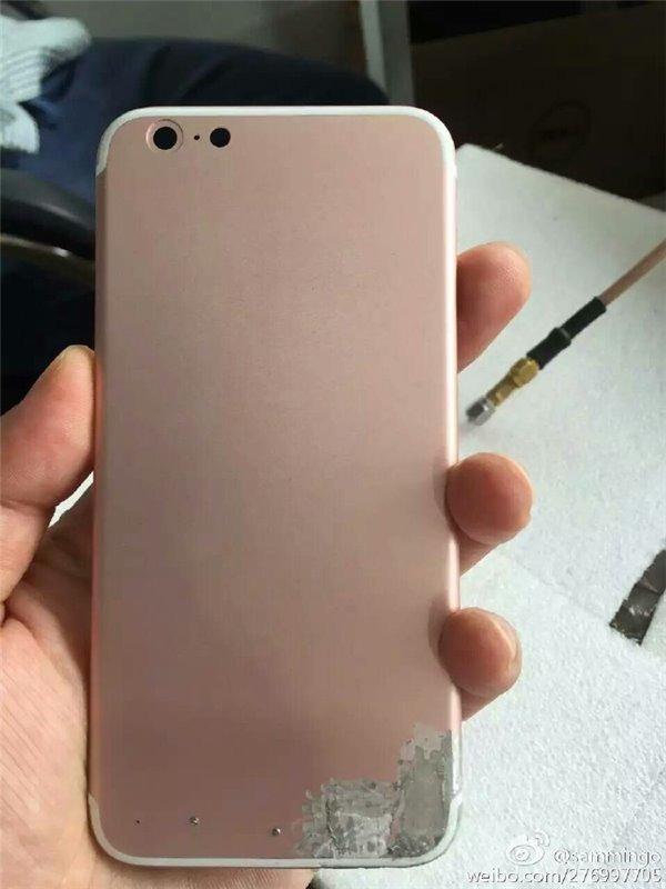 Mogelijke achterkant van de iPhone 7 in roségoud.