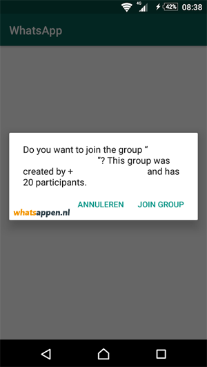 Melding voor WhatsApp-link voor groepsgesprek.