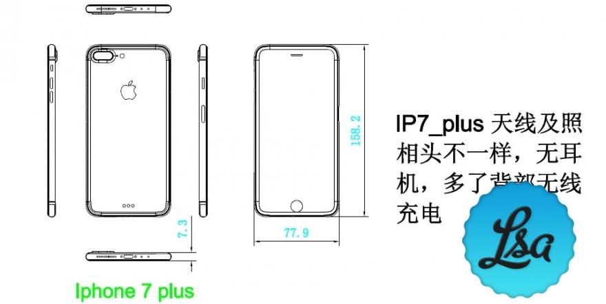 Schematische tekening van iPhone 7 Plus met afmetingen.