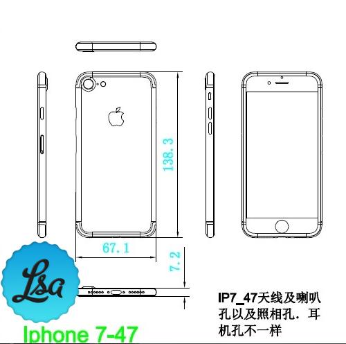 Schematische tekening van iPhone 7 met afmetingen.