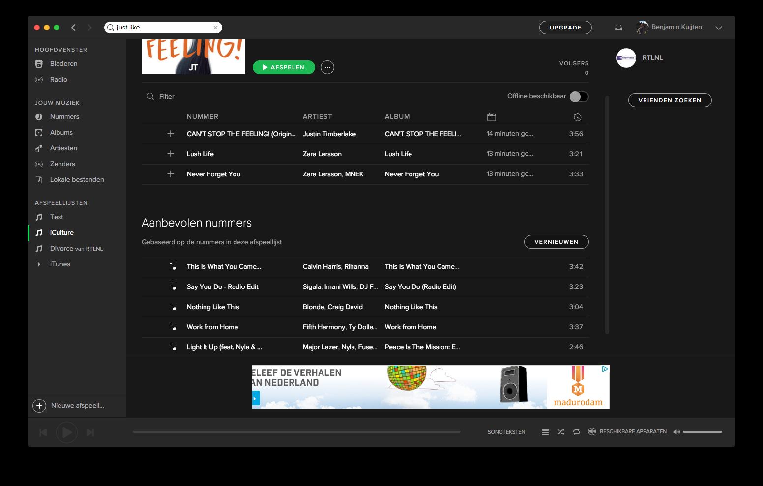 Spotify op de Mac met aanbevolen nummers.