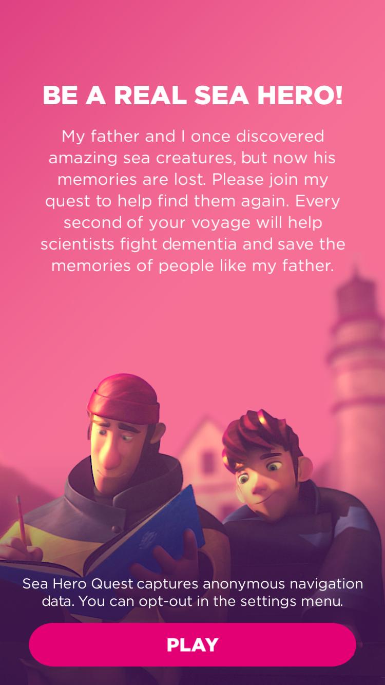 Het begin van Sea Hero Quest.