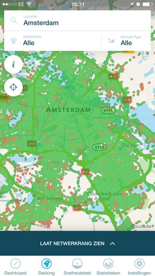OpenSignal dekkingskaart rond Amsterdam