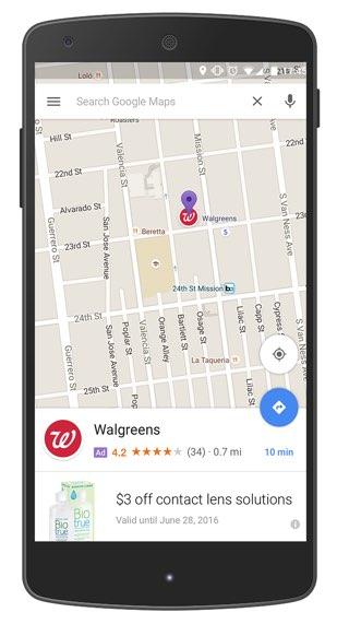 Google Maps met reclame