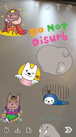 Snapchat-stickers plaatsen.