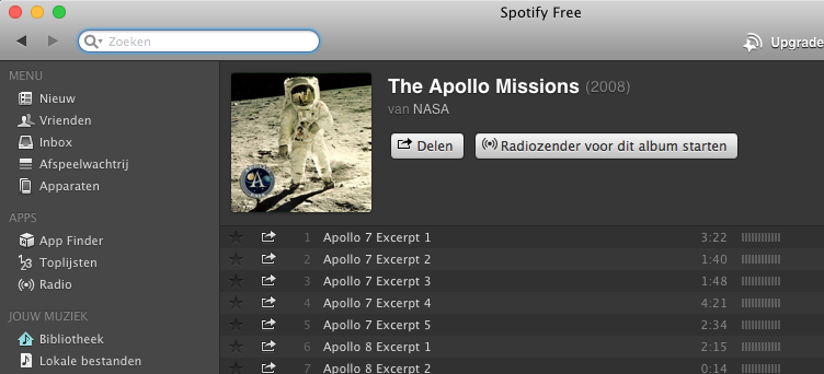 Spotify Apollo-missies