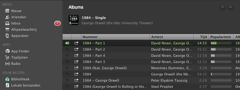 Spotify: een audioboek beluisteren, bijvoorbeeld 1984 van George Orwell