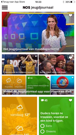NOS Jeugdjournaal: openingsscherm van de app