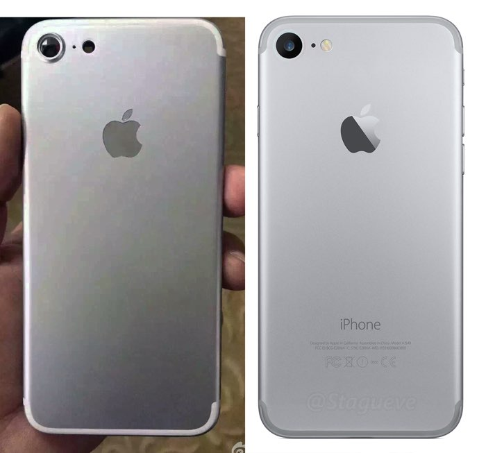 iPhone 7 foto versus iPhone 7 render uit maart 2016