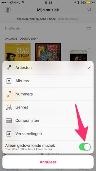Offline muziek luisteren iPhone
