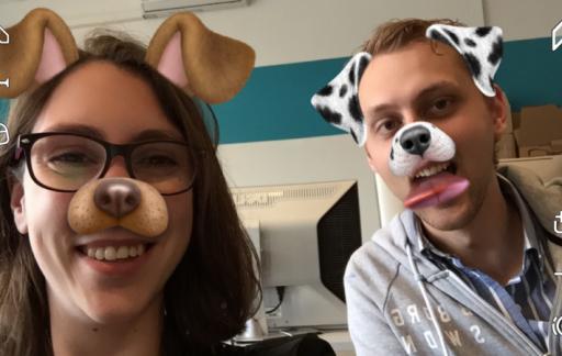Snapchat met een hondenfilter.