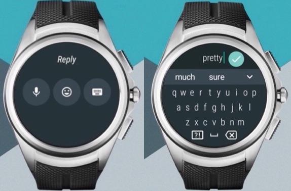 Tekst invoeren op een smartwatch met Android Wear 2.0.