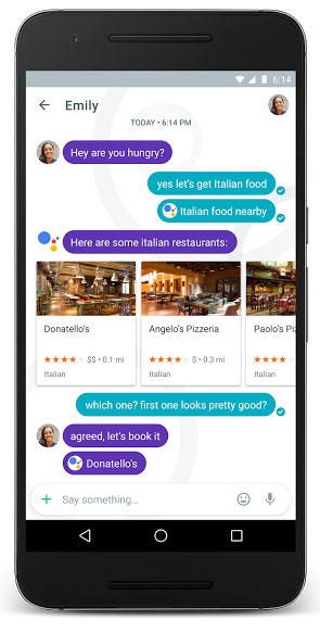 Google-assistent in actie in Allo-app