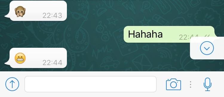 Nieuwe knop om terug te scrollen in WhatsApp-chats.