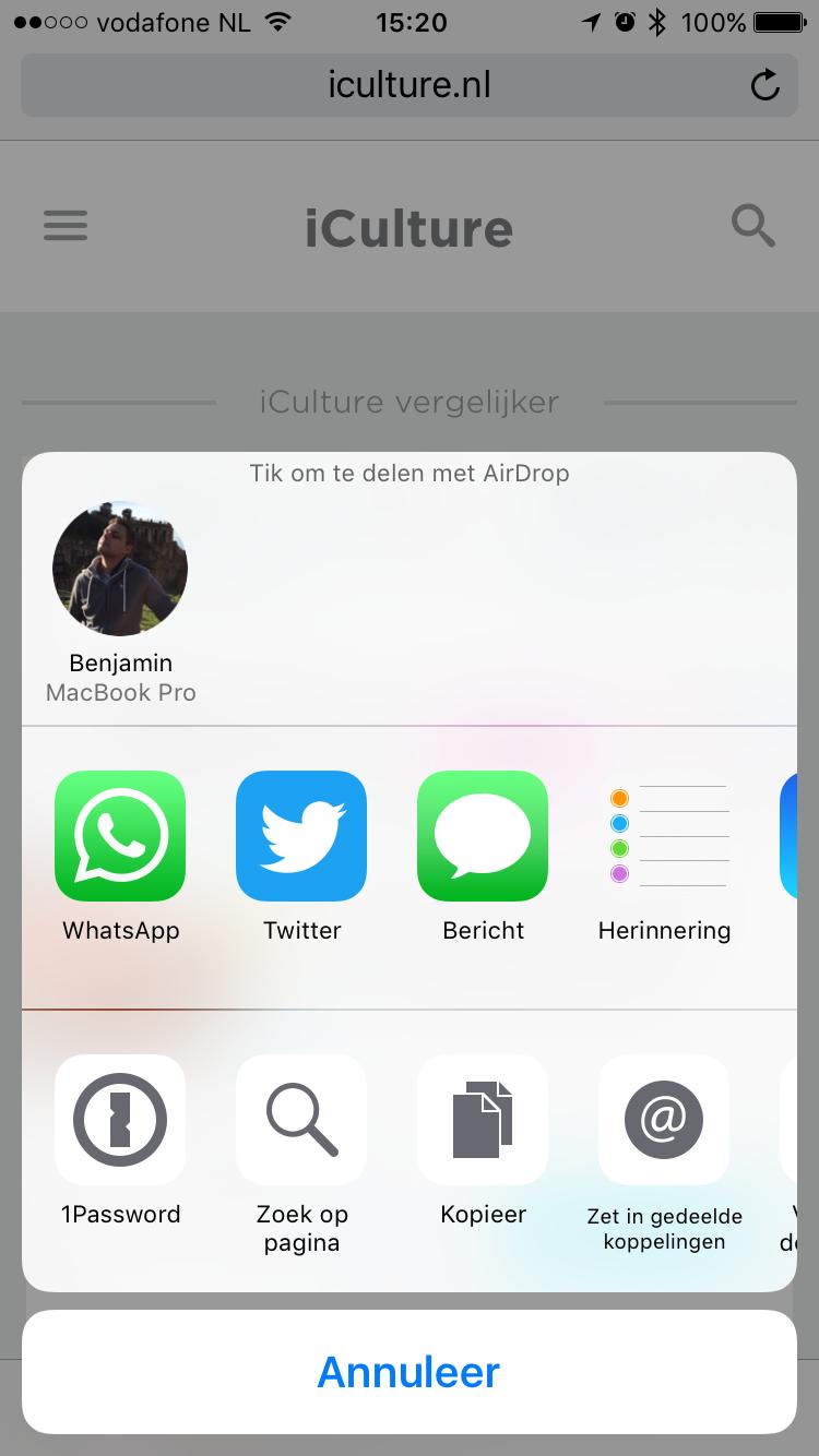 Een link versturen en delen met AirDrop.