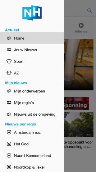 Zijmenu van nieuwe RTV-NH app op de iPhone.
