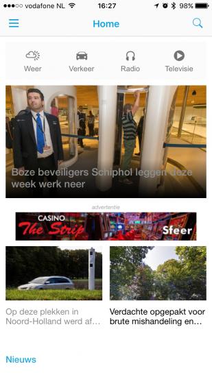 App van RTV-NH met nieuwe homepagina.