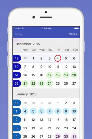 Easy Calendar: maandoverzicht