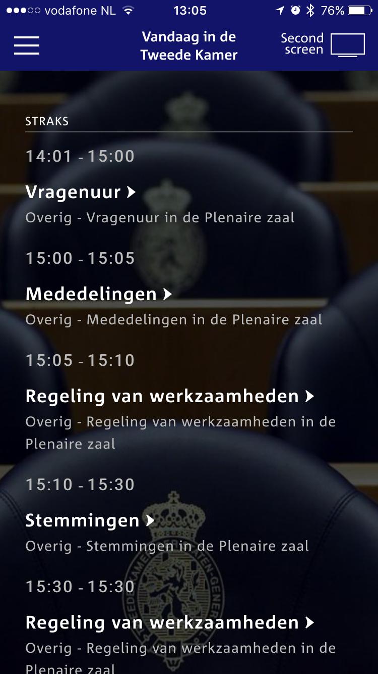 De planning in Debat Direct op de iPhone.