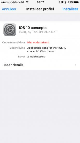 Een profiel installeren van iSkin voor het aanpassen van icoontjes.