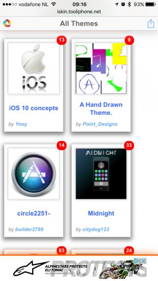 Thema's bij iSkin voor het aanpassen van icoontjes op het beginscherm.