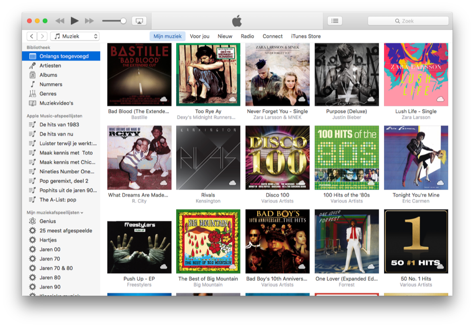 iTunes 12.4 met nieuwe zijbalk.