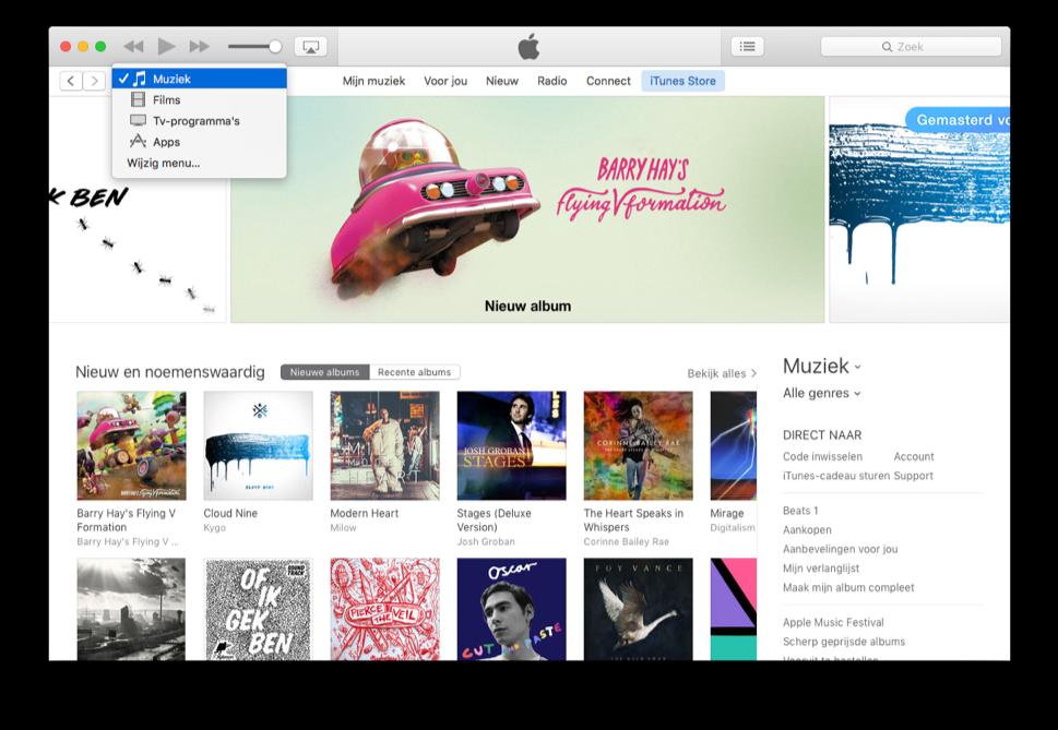 iTunes 12.4 met nieuwe mediakiezer.