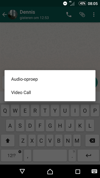 WhatsApp videobellen, keuze audio en video