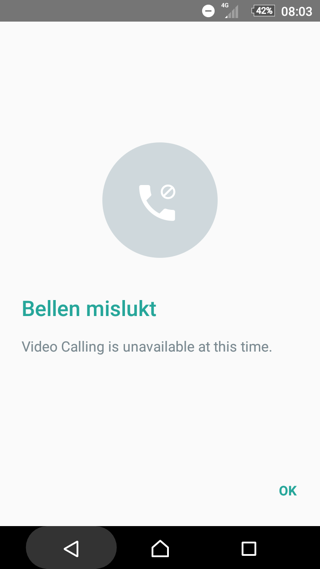Videobellen WhatsApp screenshot met bellen mislukt