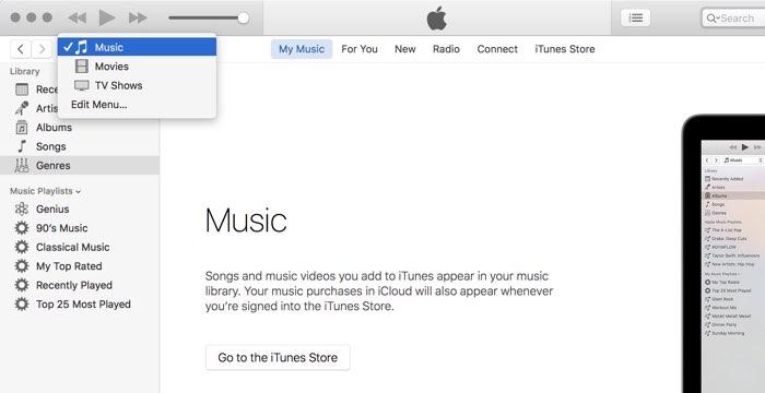 iTunes 12.4 navigatie