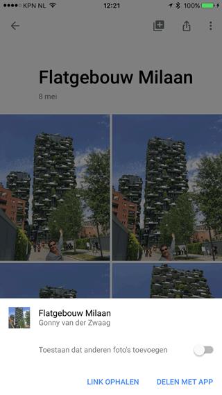 Google Foto's: album delen met anderen