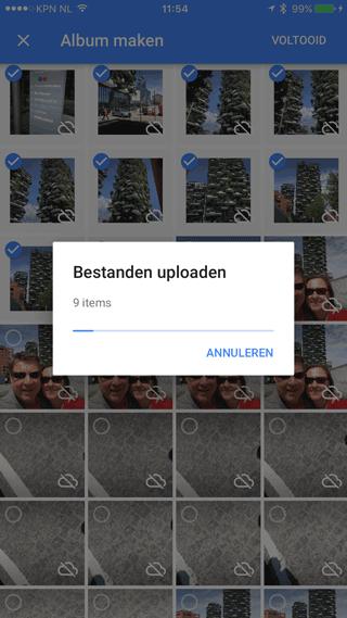 Google Foto's: bestanden uploaden