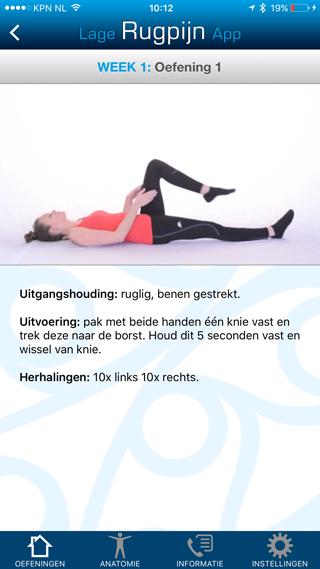 Lage Rugpijn App: oefeningen doen