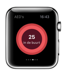 HeartsafeLiving op de Apple Watch met AED's.
