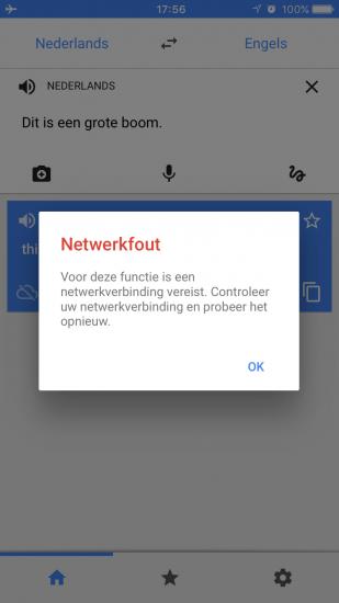 Netwerkfout voor offline vertaling laten uitspreken in Google Translate.