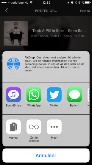 Spotify-muziek delen via SoundShare op de iPhone.