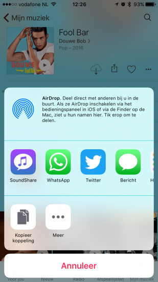 Apple Music-muziek delen via SoundShare op de iPhone.